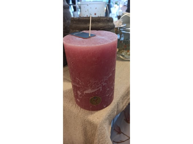 Rustikálna sviečka - ružová 15cm