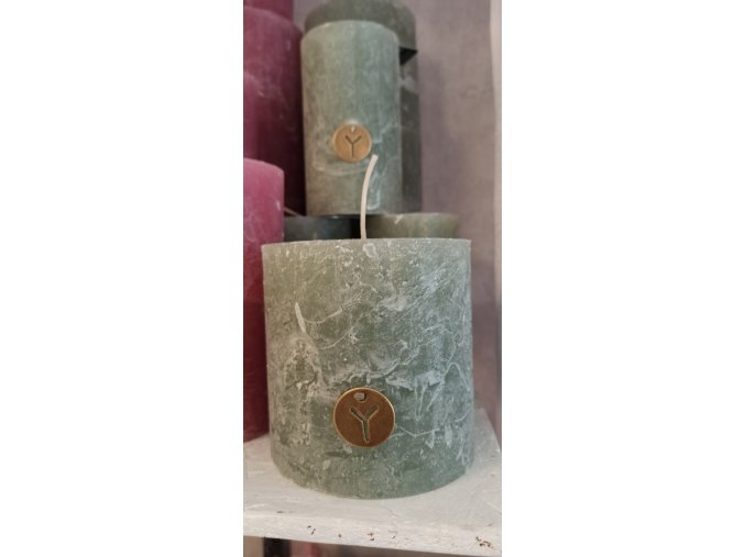 Sviečka Rustik - zelená-šalvia 10cm