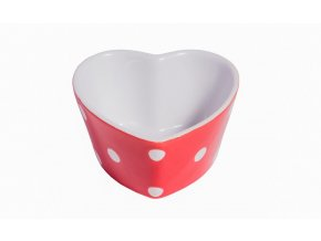 Red heart ramekin with dots Isabelle Rose