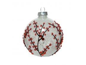 vianočná guľa - biela s červeným konárikom