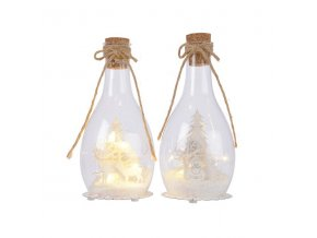 LED sklenená fľaša - jelene