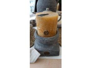 Sviečka Rustik - horčicovo-žltá 10cm