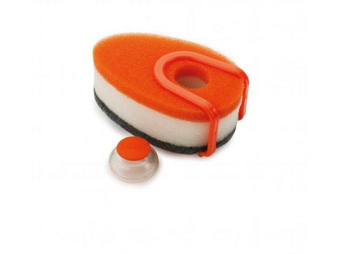 Sada houbiček s dávkovačem saponátu  JOSEPH JOSEPH Soapy-Sponge, oranžová (Barva oranžová)