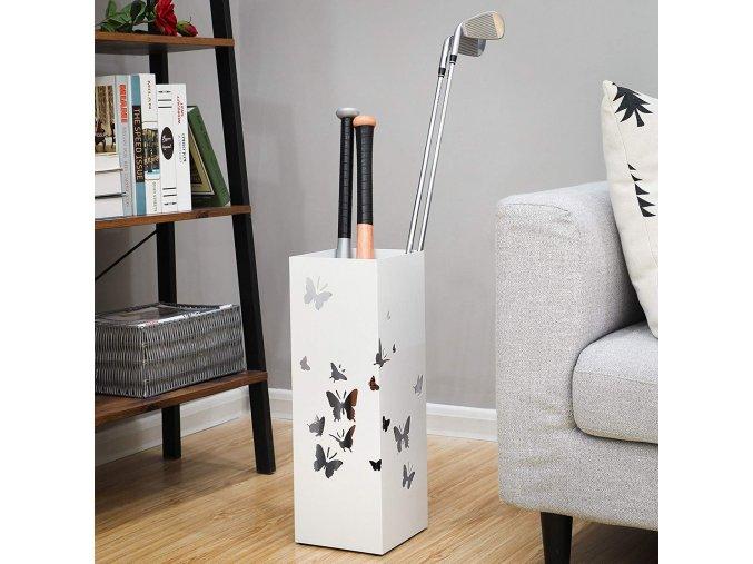 Stojan na deštníky čtvercový bílý motiv motýli