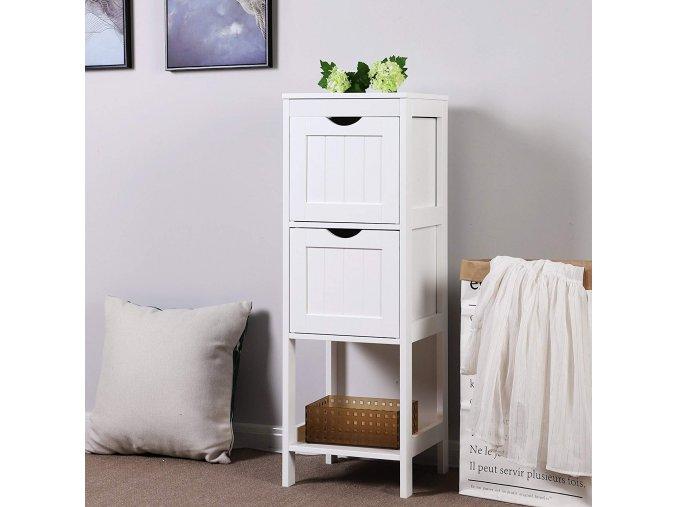 Dřevěná koupelnová skříňka se dvěma zásuvkami bílá2