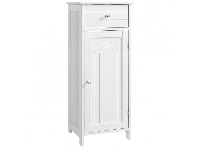 Dřevěná koupelnová skříňka se zásuvkou a policemi bílá1