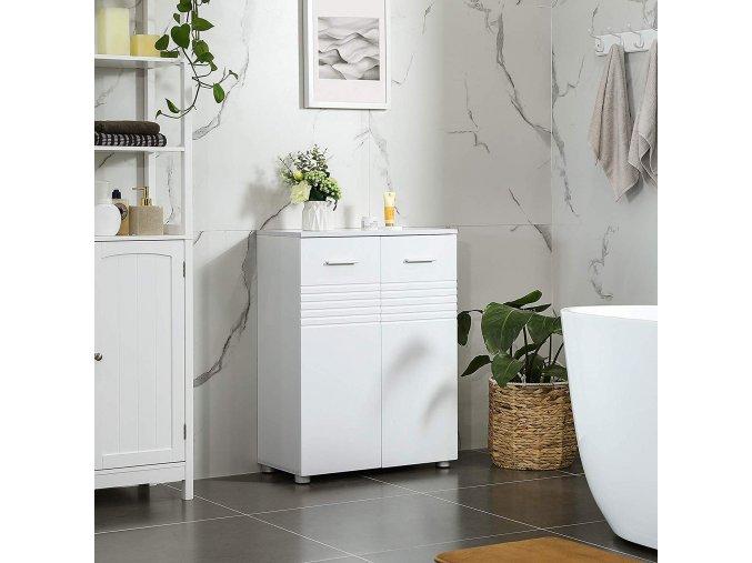 Koupelnová skříňka víceúčelová s policemi bílá2