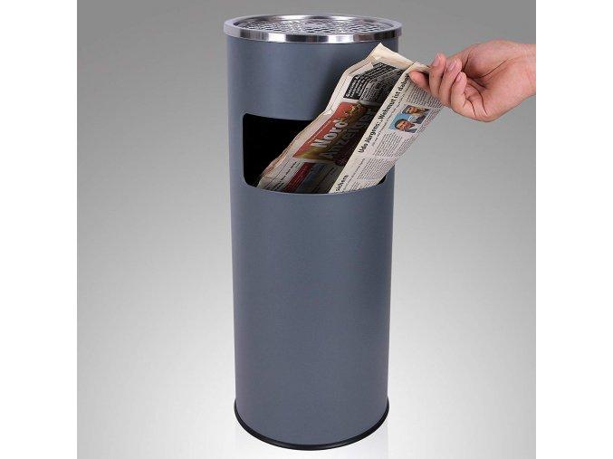 Stojanový popelník válcový s košem 60x24 cm nerez, šedý2
