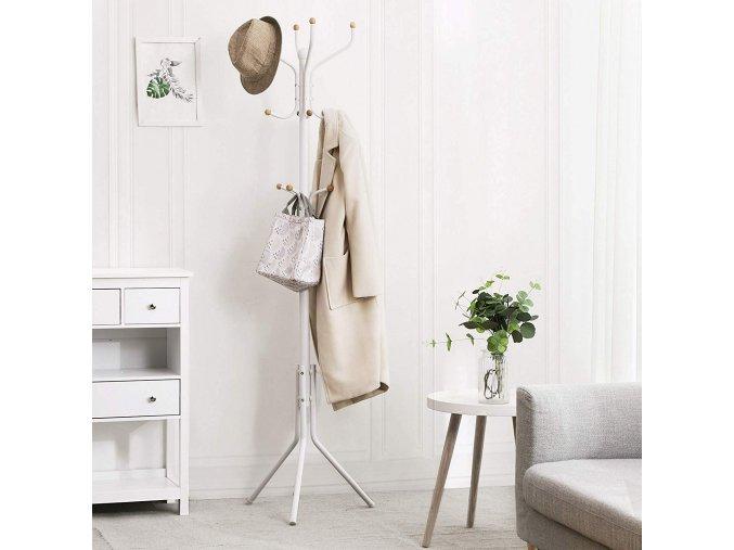 Kovový věšák na oblečení 182cm bílý2