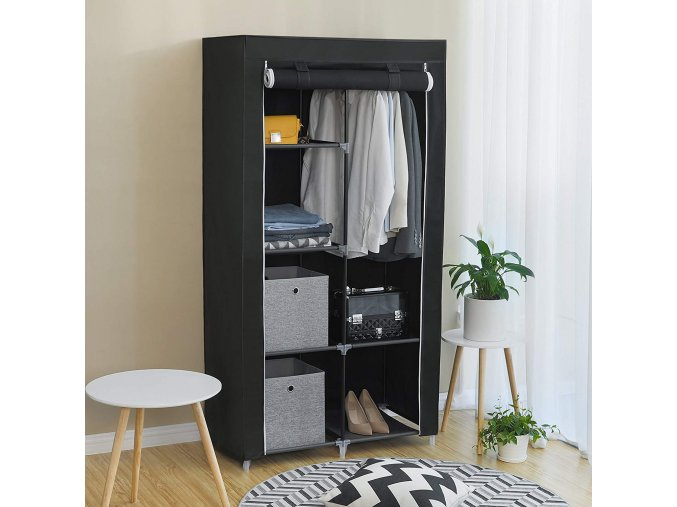 Látková šatní skříň černá 88x170x45 cm2