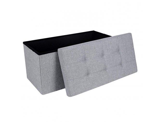 Box na hračky čalouněný skládací 76 cm šedý