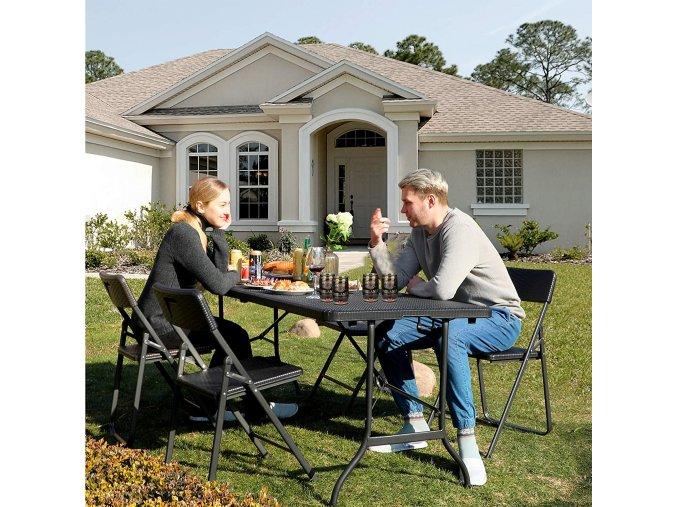 Velký zahradní stůl skládací umělý ratan černý
