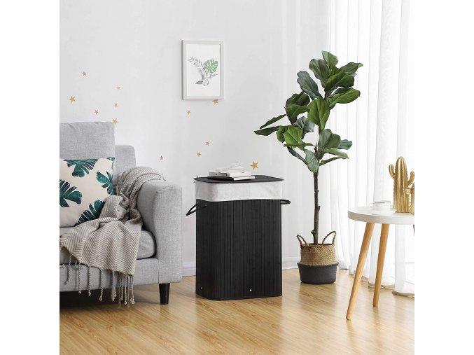 Bambusový koš na prádlo černý