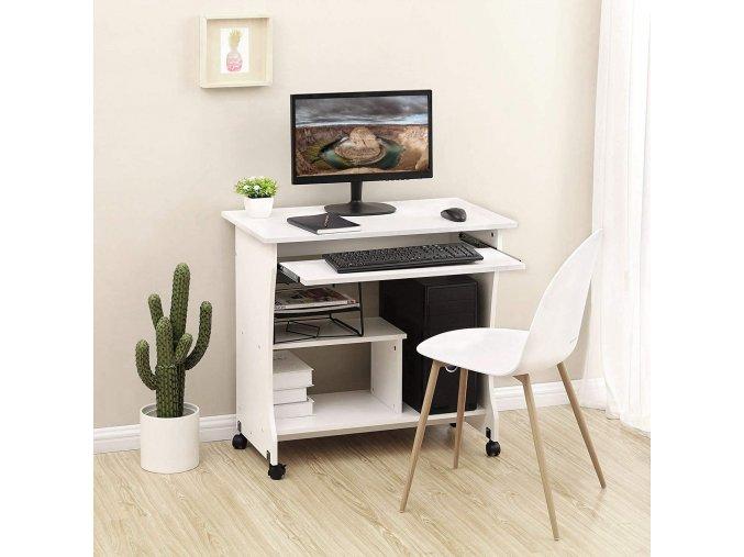 PC stolek pojízdný bílý