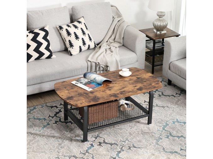 Konferenční stolek industriální hnědý černý