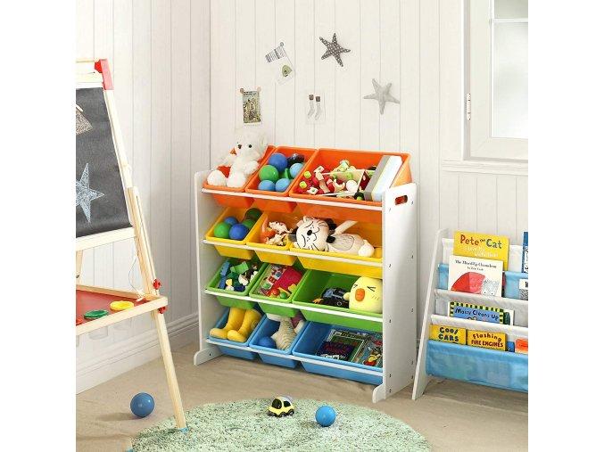 Regál na dětské hračky s barevnými boxy