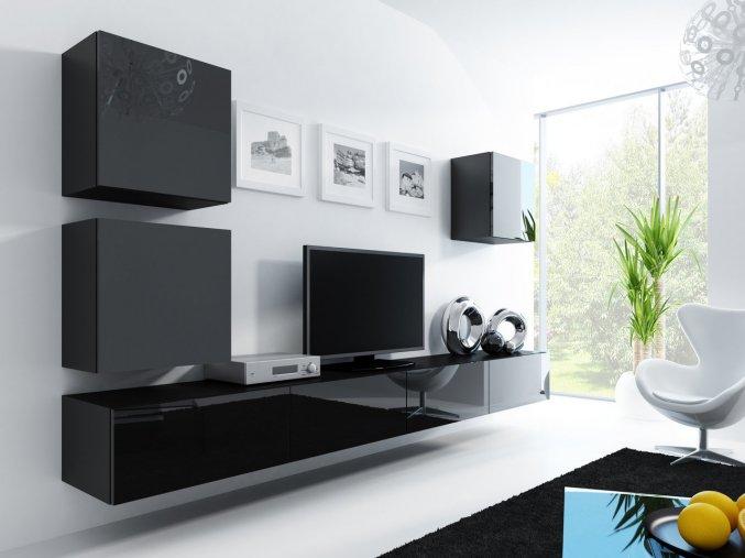 Obývací stěna VIGO 22, černá SKLADEM 1ks