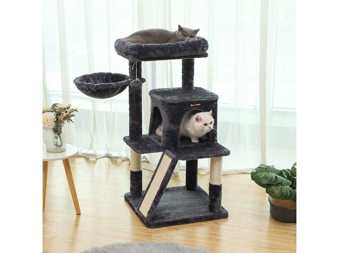 Škrabadlo pro kočky 4 patra tmavě šedé