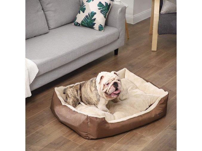 polštář pro psa hnědá 85x65 cm pratelný