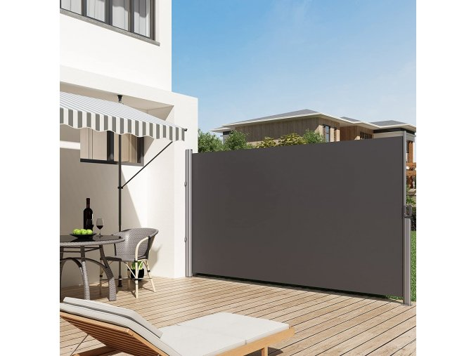 zatahovací boční markýza terasa balkon šedá
