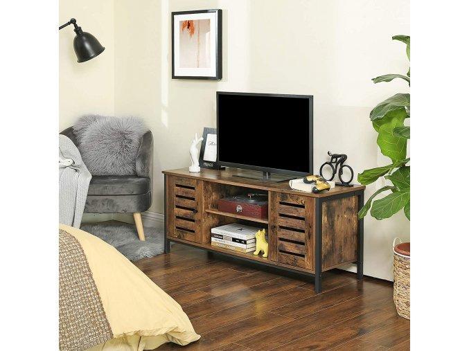 televizní stolek hnědý industriální
