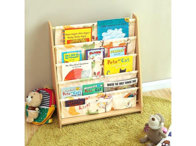 dětská knihovnička látková zvířecí motivy