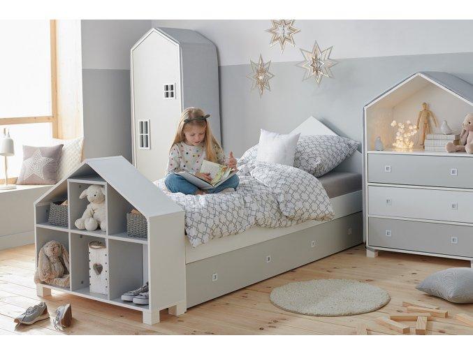 postel pro děti šedá