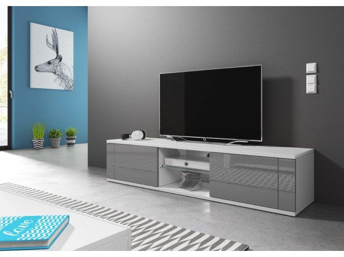 Televizní stolek HIT, bílo/šedý