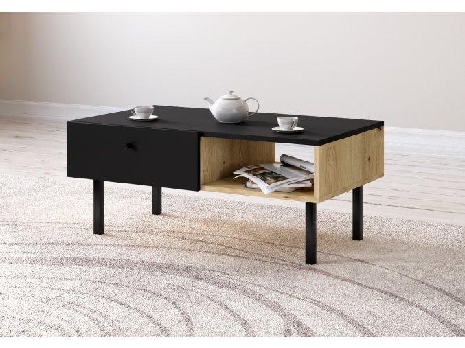 Konferenční stolek TULIA LE dub/černá 2K