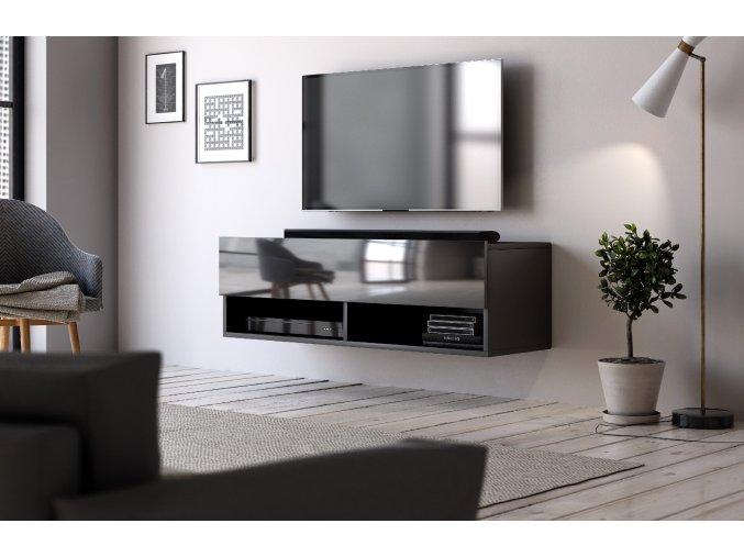 Televizní stolek DERBY 100 černý mat/černý lesk