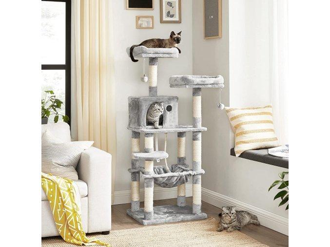 Kočičí strom škrabadlo 143 cm šedý
