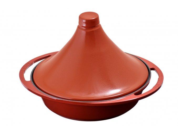 Litinový hrnec tajine 27cm, s keramickou pokličkou - červený