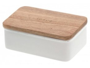 Dóza na máslo YAMAZAKI Tosca 3926, bílá/buk