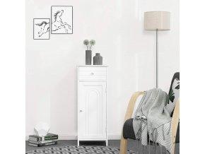 Dřevěná koupelnová skříňka se zásuvkou a policemi bílá2