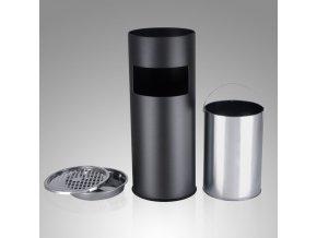 Stojanový popelník válcový s košem 60x24 cm nerez, černý3