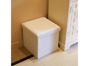 Box na hračky čalouněný skládací 38 cm bílý