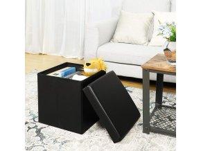 Box na hračky čalouněný skládací 38 cm černý