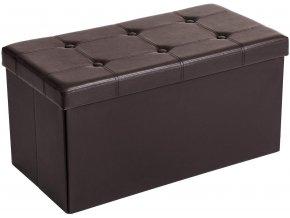 Box na hračky čalouněný skládací 76 cm hnědý