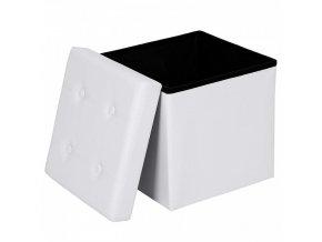 Skládací taburet bílý 38x38 1