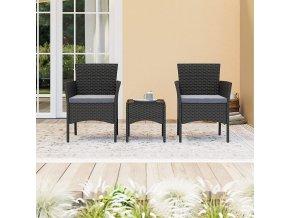 set nábytku na terasu 2+1 umělý ratan černý