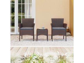 Zahradní nábytek umělý ratan hnědý set 2+1