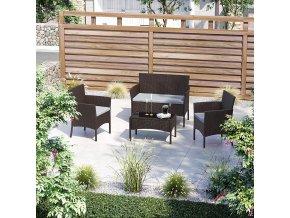 Set balkonového nábytku umělý ratan 3+1 hnědý