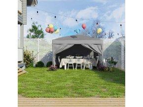 Zahradní párty stan s bočnicemi šedý 300x300 cm