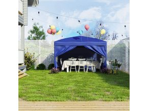 Nůžkový párty stan s bočnicemi modrý