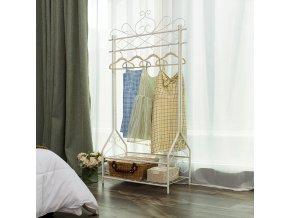 Stojan na šaty se dvěma policemi bílý kovový