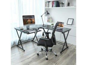 Kovový PC stůl rohový černý