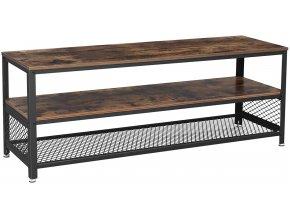 Televizní stolek industriální hnědý černý