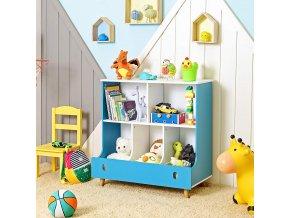 Regál na hračky modrý bílý