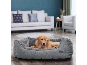 polštář pro psa 90x75 cm pratelný potah šedý