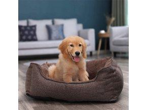 psí postel hnědá 70x55 cm pratelný potah